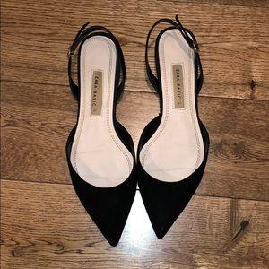 Zara pointy toe sling back flats.